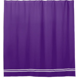 Royal Purple shower curtain double line border
