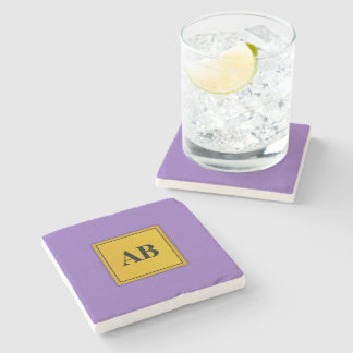 Royal purple solid color with monogram stone coaster