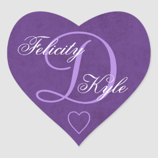 Royal Purple Wedding Monogram D or Any Initial B1 Heart Sticker