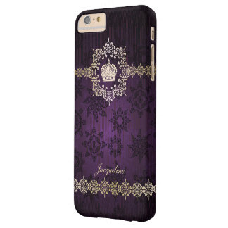 Royal Queen Princess Crown Damask Name Initials Barely There iPhone 6 Plus Case