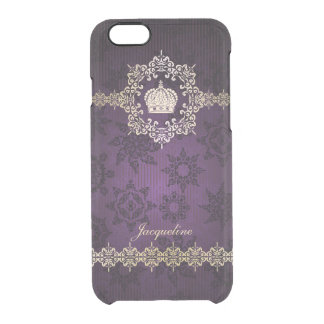 Royal Queen Princess Crown Damask Name Initials iPhone 6 Plus Case