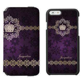 Royal Queen Princess Crown Damask Name Initials Incipio Watson™ iPhone 6 Wallet Case