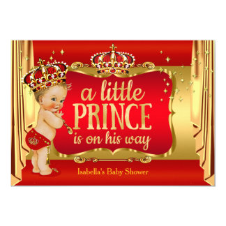 Royal Red Gold Boy Prince Baby Shower Blonde 13 Cm X 18 Cm Invitation Card