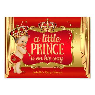 Royal Red Gold Boy Prince Baby Shower Brunette 13 Cm X 18 Cm Invitation Card