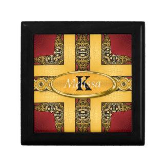 Royal Red & Gold Ornate Monogram Gift Box