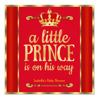 Royal Red Gold Prince is on his way Baby Shower 13 Cm X 13 Cm Square Invitation Card