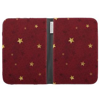 Royal Red Golden Stars Kindle Keyboard Cases