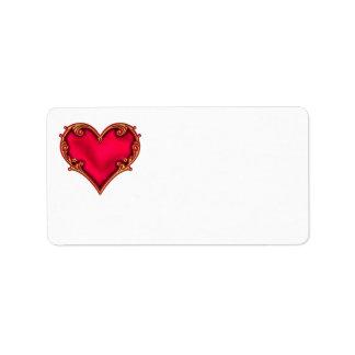 Royal Red Heart Address Label
