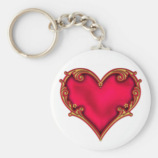 Royal Red Heart Basic Round Button Key Ring