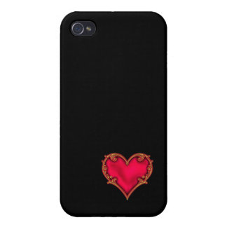 Royal Red Heart Cases For iPhone 4