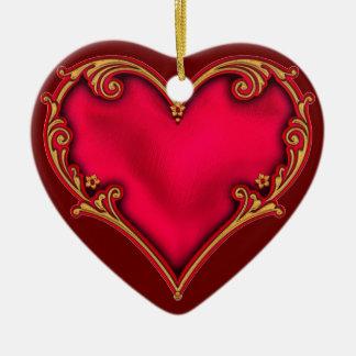 Royal Red Heart Ceramic Heart Decoration