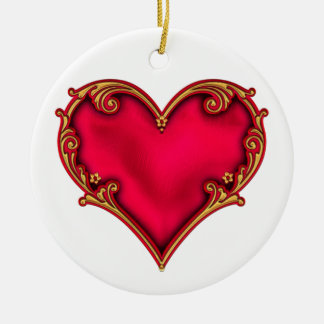 Royal Red Heart Round Ceramic Decoration