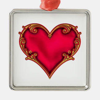 Royal Red Heart Silver-Colored Square Decoration