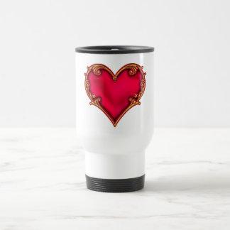Royal Red Heart Stainless Steel Travel Mug