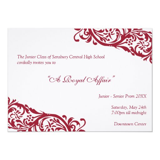 Royal red traditional  junior formals senior prom 13 cm x 18 cm invitation card