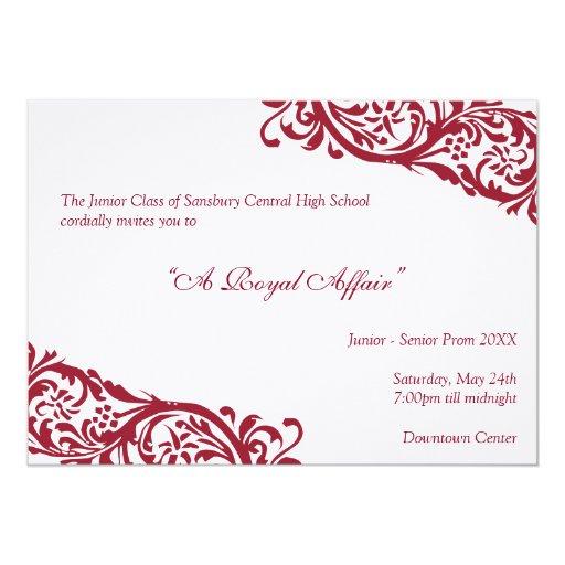 Royal red traditional  junior formals senior prom 13 cm x 18 cm invitation card
