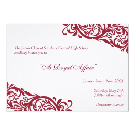 Royal red traditional  junior formals senior prom card