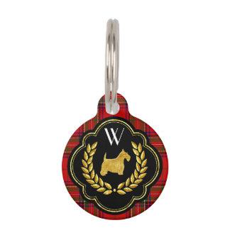 Royal Scottie Stewart Plaid Monogram Pet Name Tag