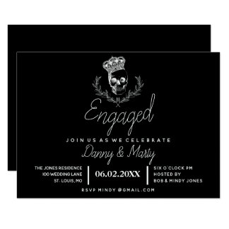 Royal Skull Engagement Party Card