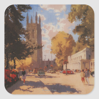 Royal Spa, Street View British Railways Poster Square Sticker