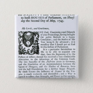 Royal Speech to both Houses of Parliament 15 Cm Square Badge