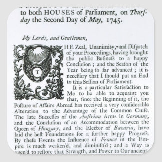 Royal Speech to both Houses of Parliament Square Sticker