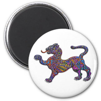 Royal Spotted Leopard Abstract Background 6 Cm Round Magnet