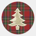 Royal Stewart Plaid Christmas Envelope Seal Round Sticker