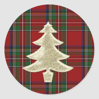 Royal Stewart Plaid Christmas Envelope Seal Round Sticker