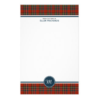 Royal Stewart Tartan Classic Red Plaid Monogram Customized Stationery