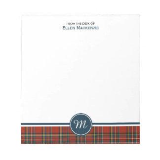 Royal Stewart Tartan Monogram Notepad
