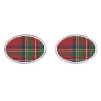 Royal Stewart Tartan Plaid Cuff Links Silver Finish Cufflinks