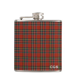 Royal Stewart Tartan Red Scottish Plaid Monogram Flask