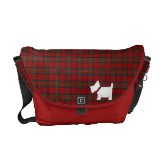 Royal Stewart Tartan & Scottie Dog Silhouette Bag Courier Bag