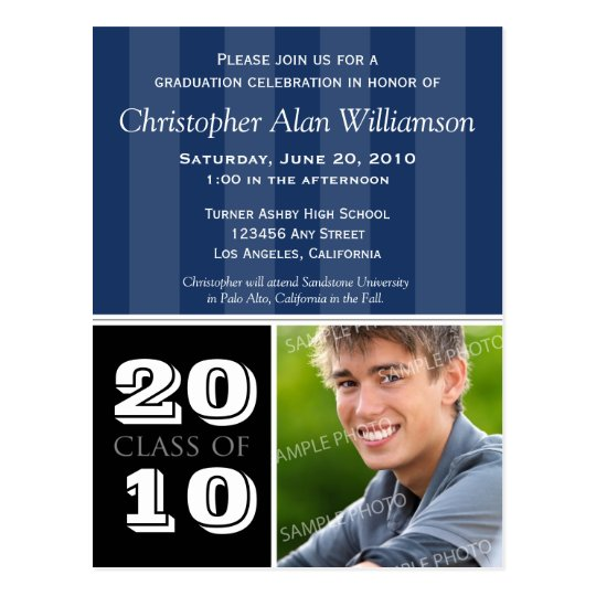 Royal Stripes Graduation Announcement (navy) Postcard