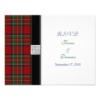 Royal Stuart Tartan Celtic Wedding Response Card Announcement