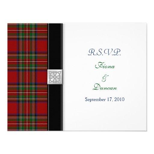 Royal Stuart Tartan Celtic Wedding Response Card Personalized Announcements
