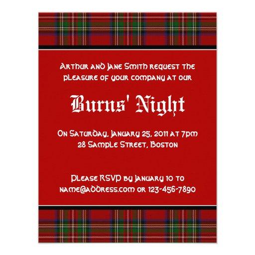 Royal Stuart Tartan Robbie Burns Night Invitation