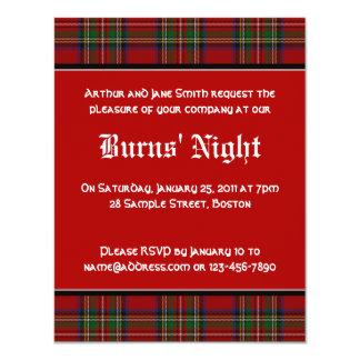 "Royal Stuart Tartan Robbie Burns Night Invitation 4.25"" X 5.5"" Invitation Card"