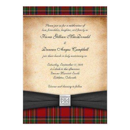 Royal Stuart Tartan Wedding Invitation