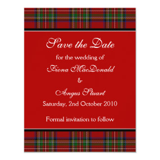 Royal Stuart Tartan Wedding Save the Date Card 11 Cm X 14 Cm Invitation Card