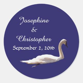 Royal Swan in Blue Round Sticker