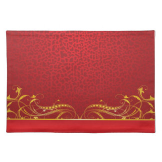 Royal Swirls of Gold On Red Placemats