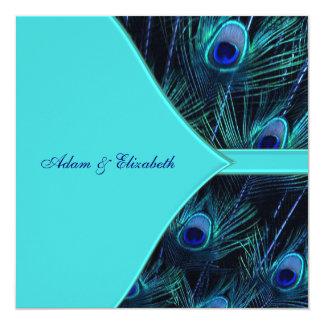 Royal Teal Blue Peacock Wedding 13 Cm X 13 Cm Square Invitation Card