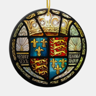 Royal Tudor Coat of Arms Henry VIII Stained Glass Christmas Ornament