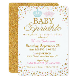 Royal Twins Gold Glitter Sprinkle Baby Shower Card