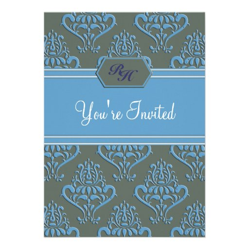 royal vintage blue green baby shower invitation 13 cm x 18 cm