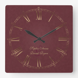 Royal Vintage Gold Burgundy Roman Numeral Monogram Square Wall Clock