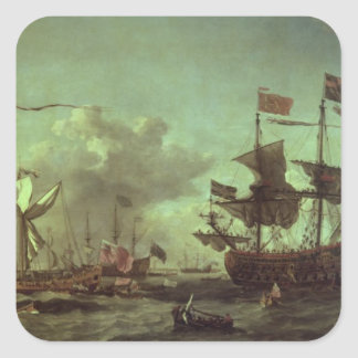Royal Visit to the Fleet, 5th June 1672 Square Sticker