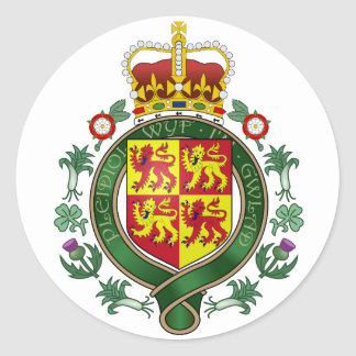 Royal Wales Official Coat Of Arms Heraldry Symbol Round Sticker